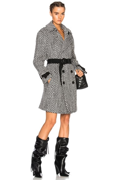Chevron Wrap Trench Coat
