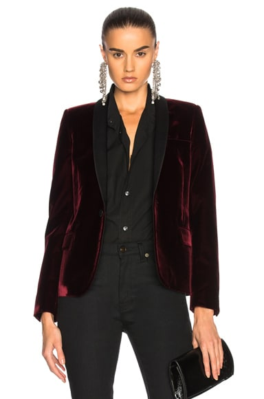 Velvet Single Button Blazer