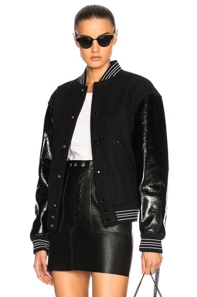 Leather Sleeve Teddy Bomber Jacket