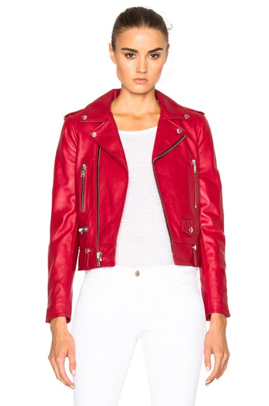 Saint Laurent Classic Motorcycle Jacket in Red