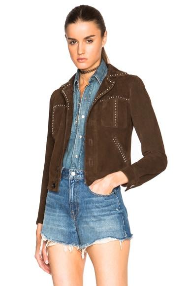 Saint Laurent Studded Suede Jacket in Brown