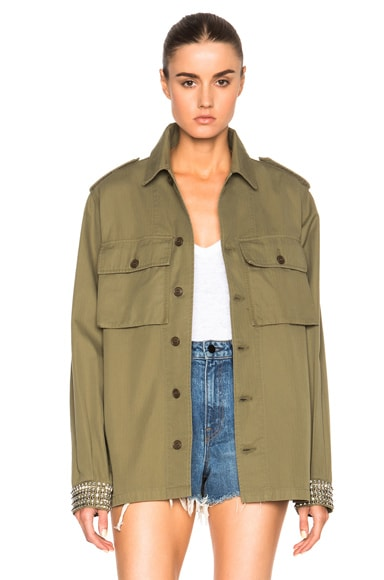 Saint Laurent Oversized Military Studded Jacket in Vintage Army Green
