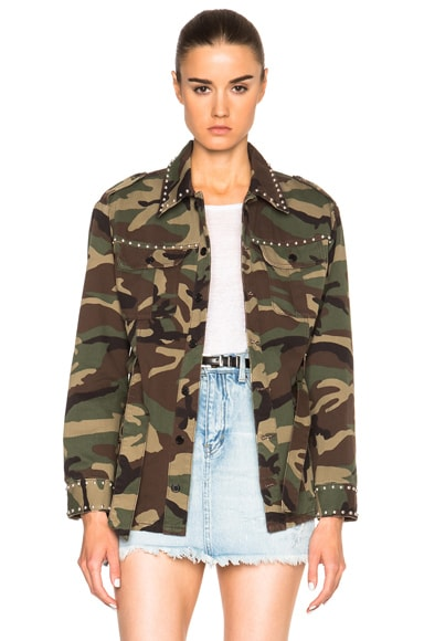 Saint Laurent Short Studded Jacket in Camouflage