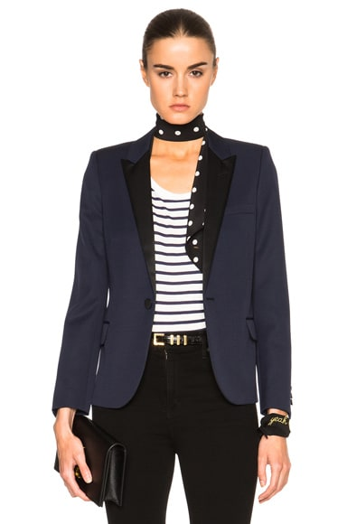 Saint Laurent Single Button Tuxedo Jacket in Marine