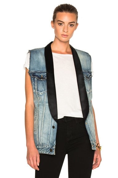 Smoking Collar Denim Vest