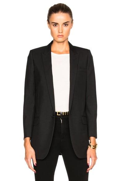 Saint Laurent Gabardine Classic Blazer in Black