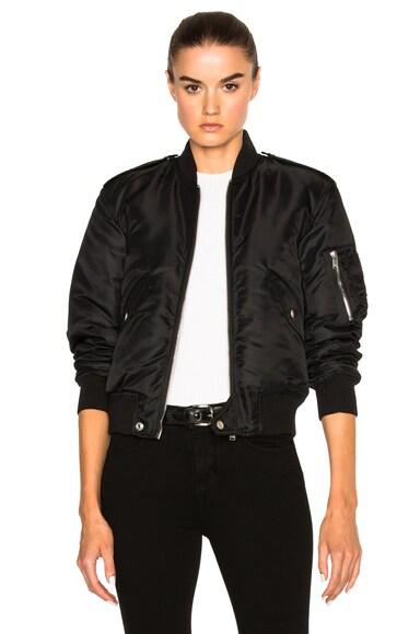 Saint Laurent Nylon Bomber Jacket in Black