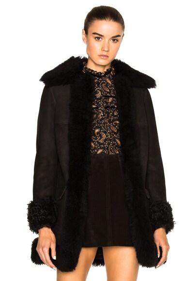 Saint Laurent Shearling Coat in Black