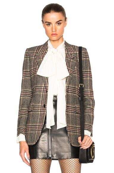 Saint Laurent Oversize Tweed Blazer in Beige Marron