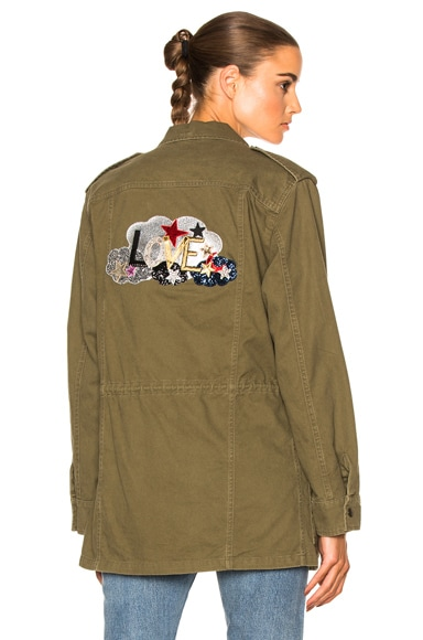 Saint Laurent Love Patch Parka in Khaki