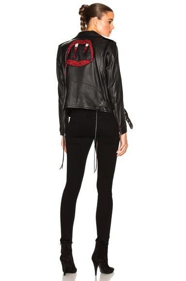 Saint Laurent Motorcycle Jacket in Black & Rouge
