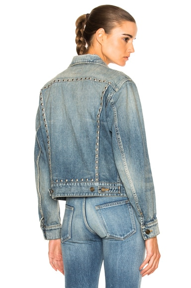Saint Laurent BF Studded Denim Jacket in Dirty 80's Light Blue