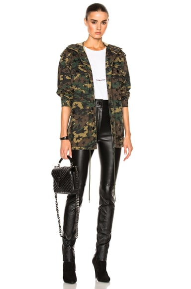 Saint Laurent Army Camouflage Jacket with Stars in Army