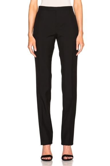 Saint Laurent Low Waist Gabardine Trousers in Black