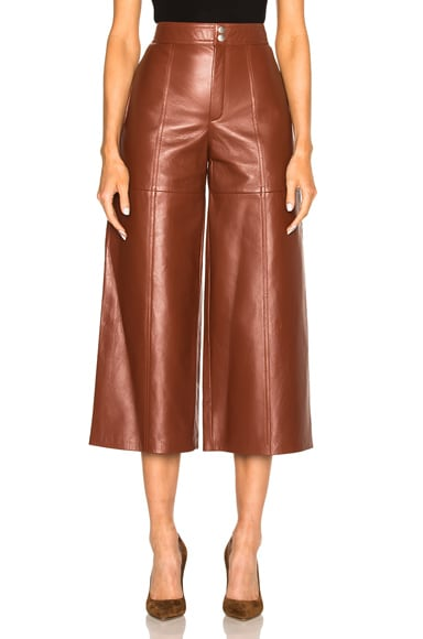 Saint Laurent Leather Slouch Culottes in Amaranto