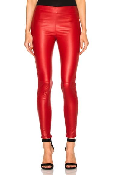 Saint Laurent Shiny Stretch Leather Leggings in Rouge Lipstick
