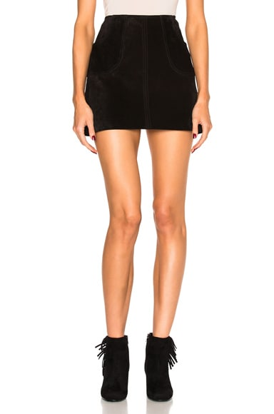 Saint Laurent Suede Trapeze Skirt in Black