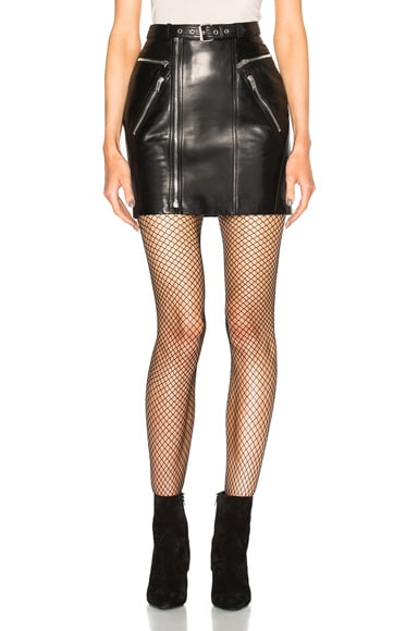 Saint Laurent 80s Leather Motorcycle Skirt in Black