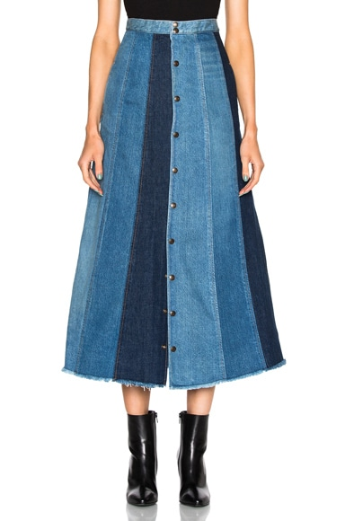 Saint Laurent Long Patchwork Denim Skirt in Dirty Blue