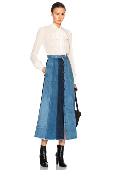 Long Patchwork Denim Skirt