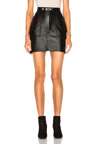 Saint Laurent Leather Mini Skirt in Black