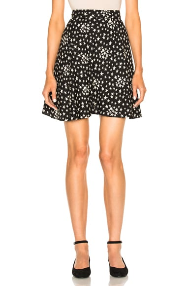 Saint Laurent Star Mini Skirt in Black & White