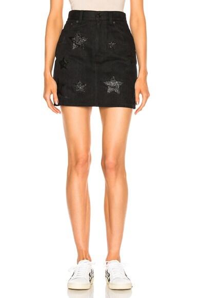 Saint Laurent Denim Mini Skirt in Black Shiny Stars