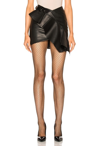 Asymmetrical Leather Mini Skirt
