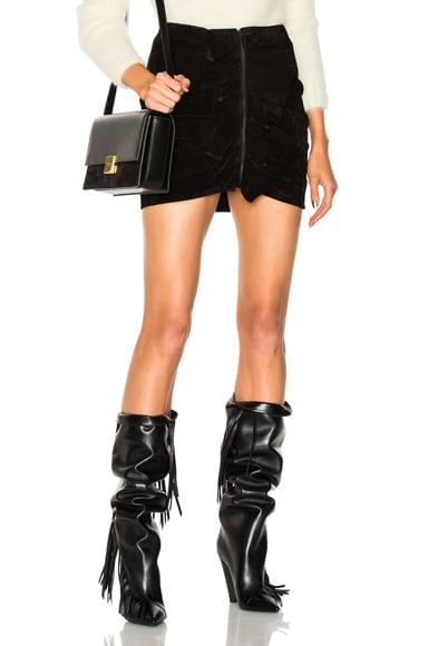 Ruffle Front Suede Skirt Saint Laurent
