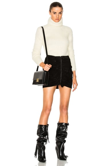 Ruffle Front Suede Skirt
