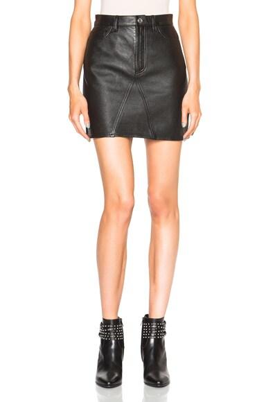 Saint Laurent A Line Leather Skirt in Black