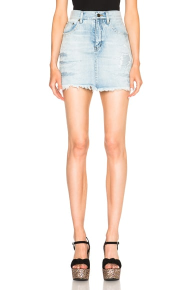 Saint Laurent Repaired Denim Mini Skirt in Dirty Light Blue