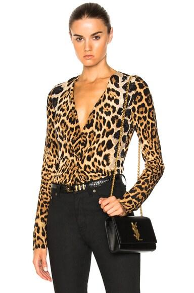 Leopard Deep V Drape Blouse Saint Laurent