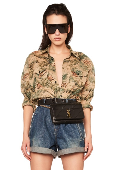 Tropical Print Oversized Shirt