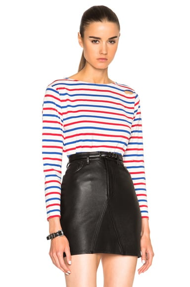 Saint Laurent Distressed Stripe Tee in White, Blue & Red