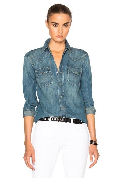 Saint Laurent Western Denim Shirt in Blue Stonewash