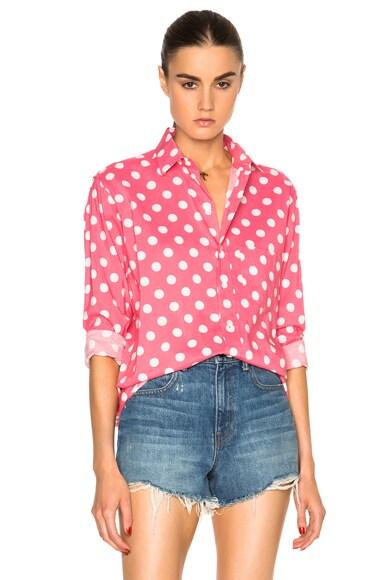 Saint Laurent Polka Dot Shirt in Rose & White