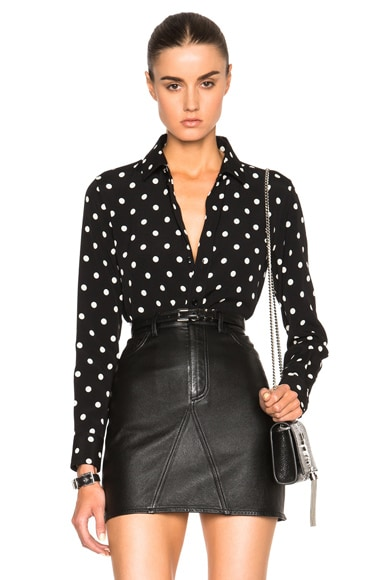 Saint Laurent Classic Large Polka Dot Paris Blouse in Black & Shell