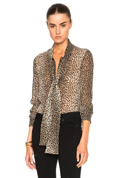 Saint Laurent Georgette Babycat Blouse in Beige & Black