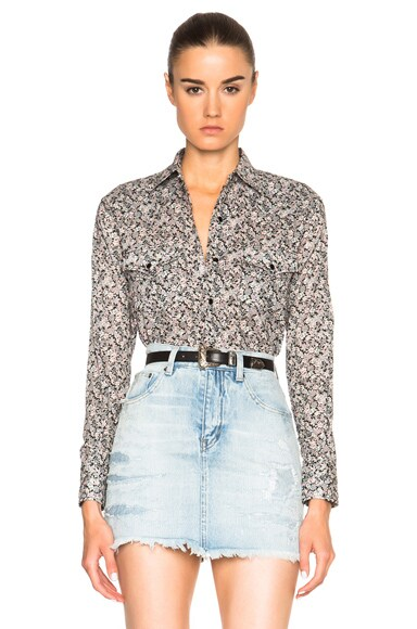 Saint Laurent Prairie Flower Western Shirt in Pink & Black
