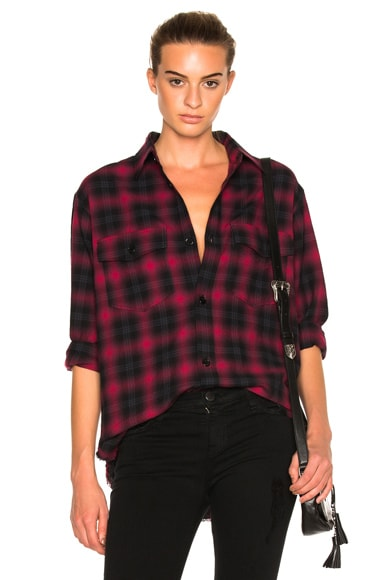 Saint Laurent Plaid Tartan Oversize Shirt in Red & Black Check
