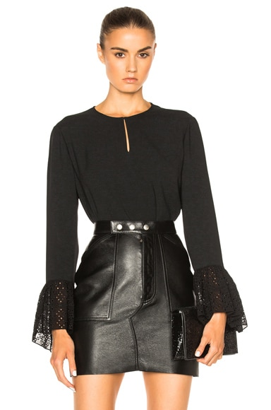 Crepe Blouse with Eyelet Sleeves