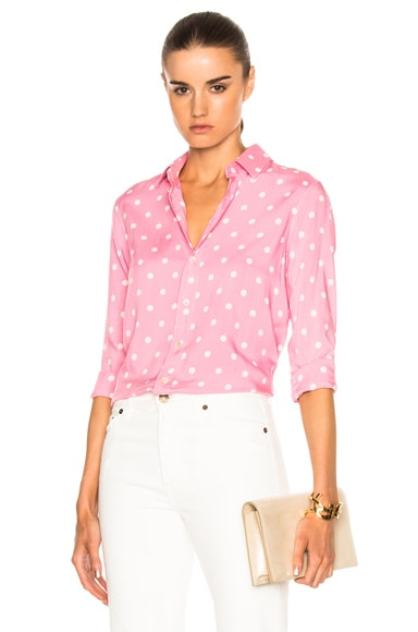 Saint Laurent Polka Classic Blouse in Pale Rose & White
