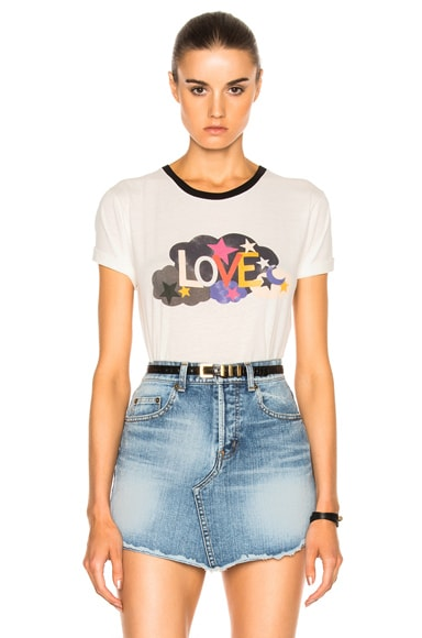 Saint Laurent Love Print Tee in Black, Natural & Multi Color