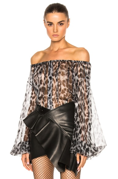 Saint Laurent Leopard Print Off the Shoulder Blouse in Black & Gray