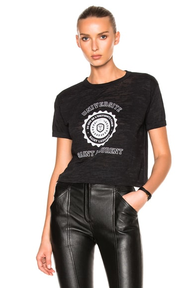 Saint Laurent Cropped University Tee in Black & White