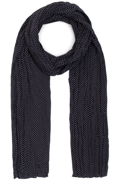 Saint Laurent Pleated Crepe De Chine Dot Scarf in Black & White