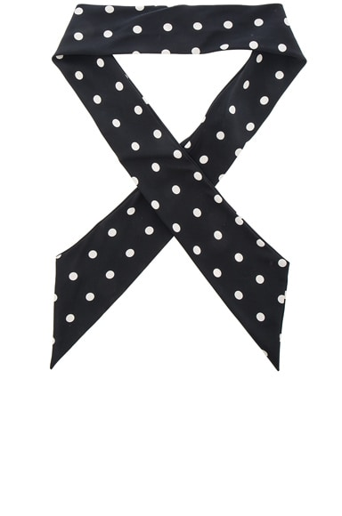 Saint Laurent Crepe De Chine Dot Scarf in Black & Off White