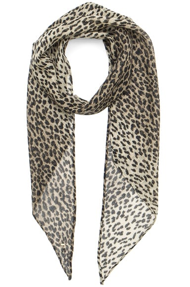 Saint Laurent Babycat Scarf in Beige & Black