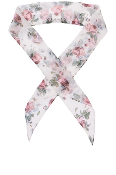 Saint Laurent Grunge Roses Scarf in Rose & Shell